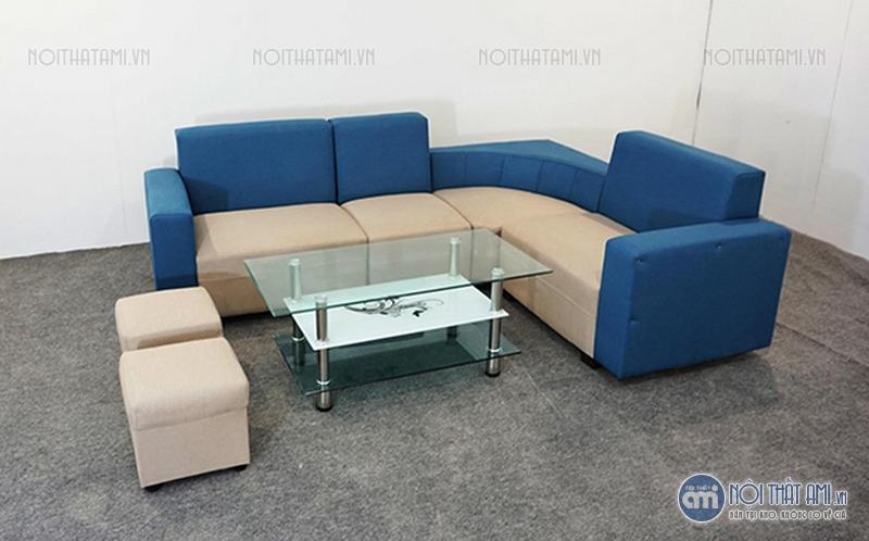 sofa nỉ góc xanh pha trắng giá rẻ