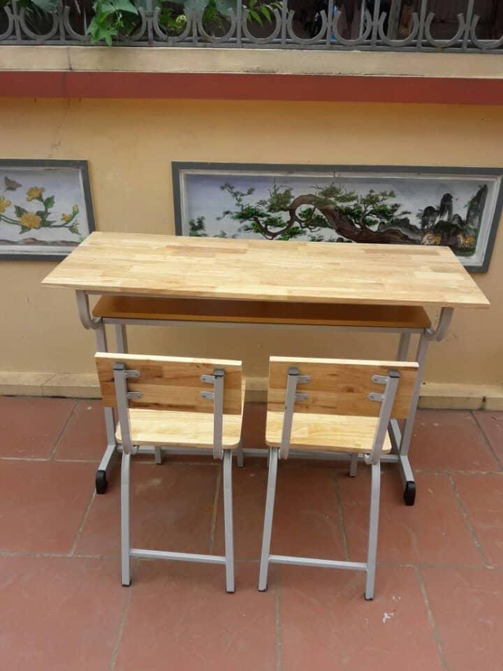 bàn học sinh rời ghế thanh lý gỗ tự nhiên