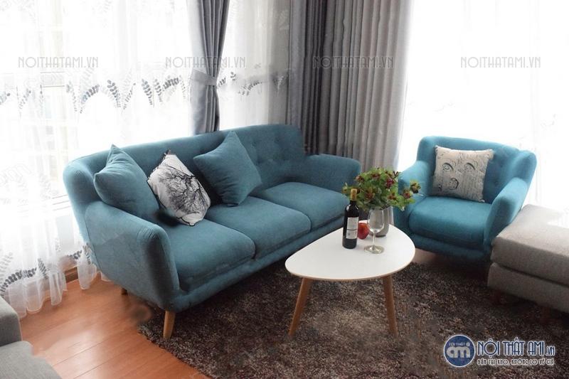 sofa văng xanh nước biển thanh lý