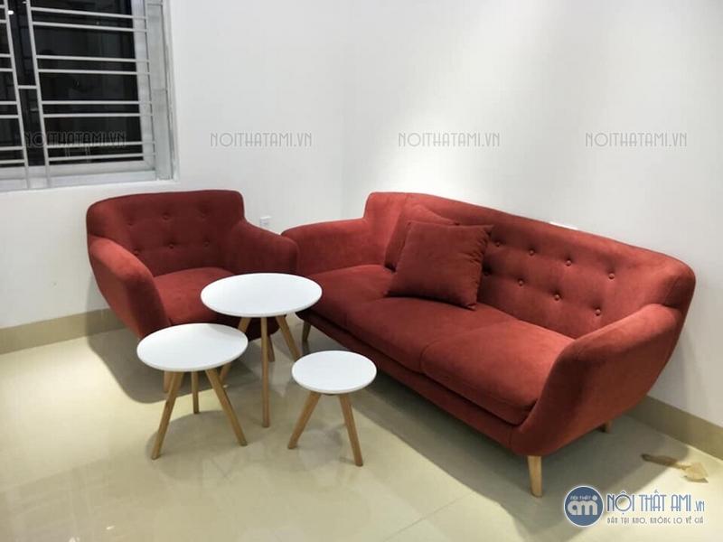 sofa văng đỏ màu sẫm thanh lý