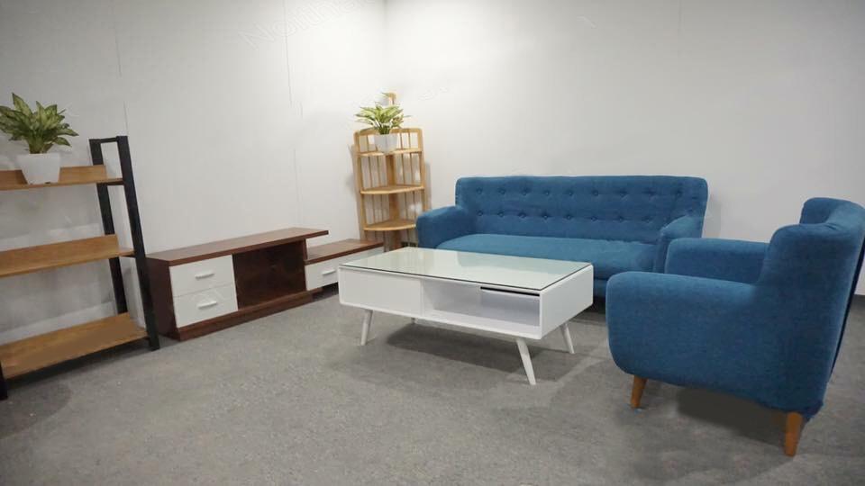 sofa văng xanh da trời 1m8 thanh lý
