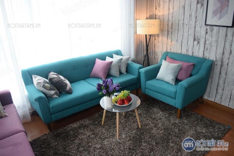 sofa văng xanh da trời thanh lý